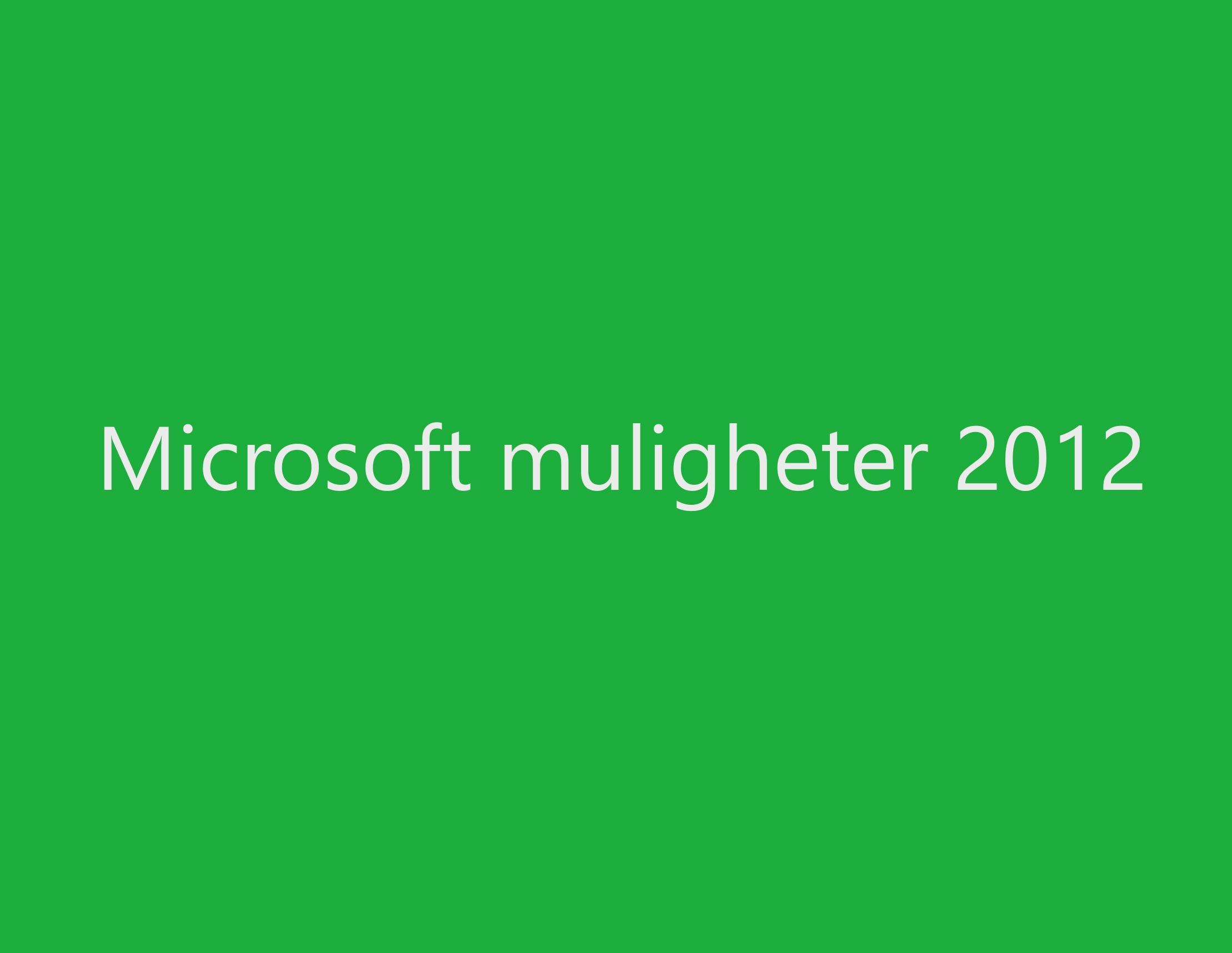Microsoft Muligheter 2012